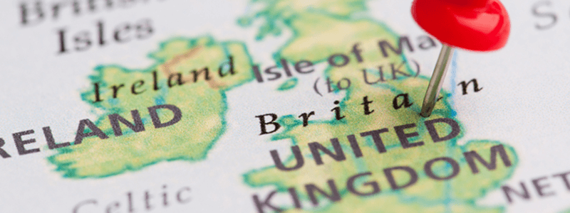 map of the united kingdom with a pin in it
