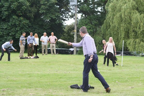Bower Staff playing rounders at the 10th anniversary celebration