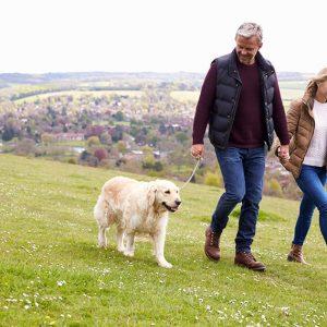 Couple enjoying retirement; Walking in the countryside