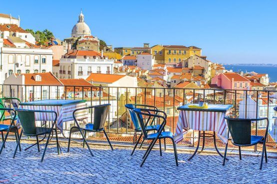 Portugal, Cafe view of houses in Lisbon