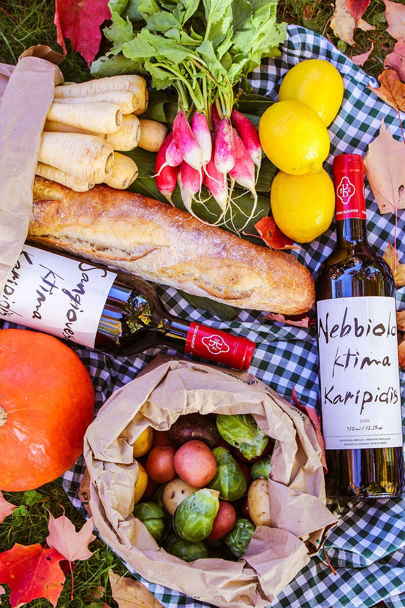 Picnic: vegetables, bread and wine