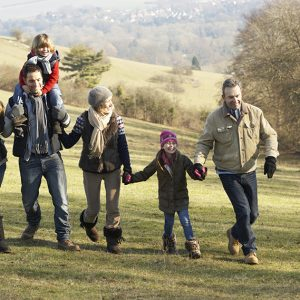 Grandparents day out in the country with children and grandchildren.