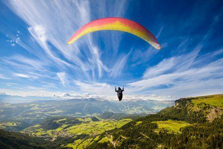 Retirement Bucket list #16 - Paragliding retiree against a blue sky