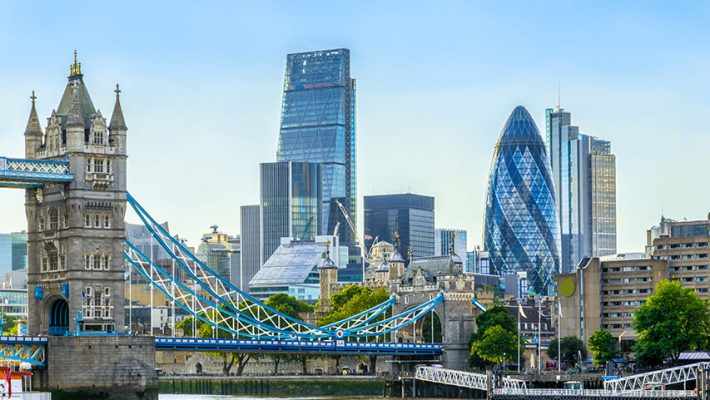 Financial district of London, Britain