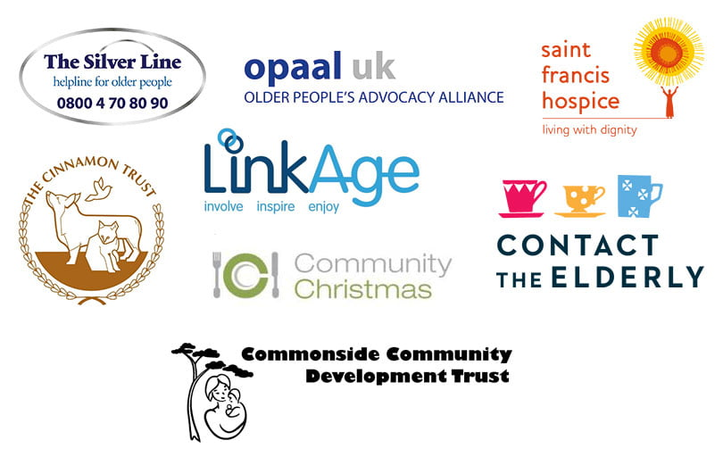 Charities: The Silver Line, Opaal UK, St Francis Hospice, The Cinnamon Trust, Community Christmas, Contact the Elderly