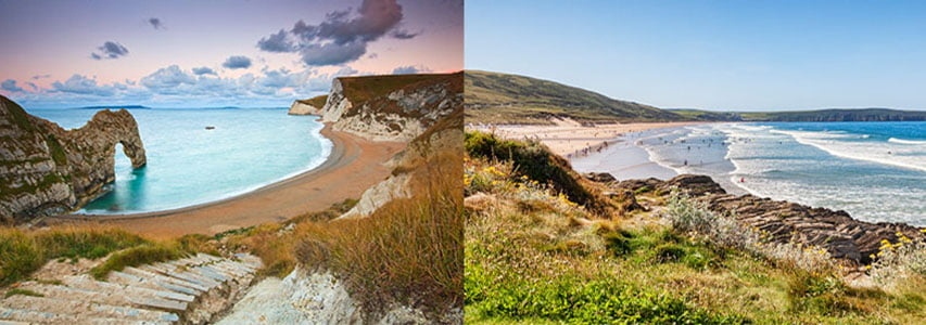two English beaches side by side